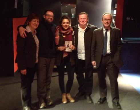 The Stay cast and crew screening. L-R: Exec Producer Sarah Stokes, Writer/Director Frazer Lee, Actress Daniela Finley, Composer Lester Barnes, Exec Producer Phil Stokes.